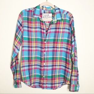 Frank & Eileen Barry Linen Plaid Button Up Shirt